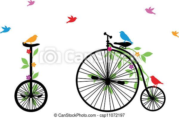 鳥, 自転車, ベクトル, レトロ - csp11072197