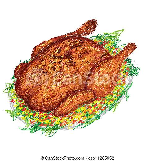 鶏, 焼かれた - csp11285952