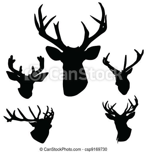 鹿角, 鹿, 黑色半面畫像 - csp9169730