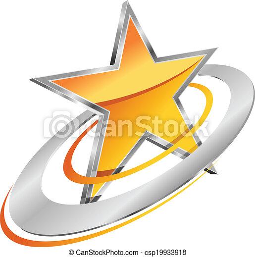 黃金, 星, 軌道, 圓 - csp19933918