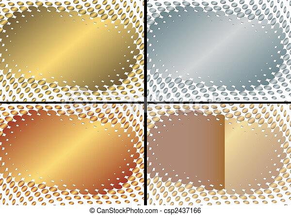 黃金, 框架, 彙整, (vector), 銀色 - csp2437166