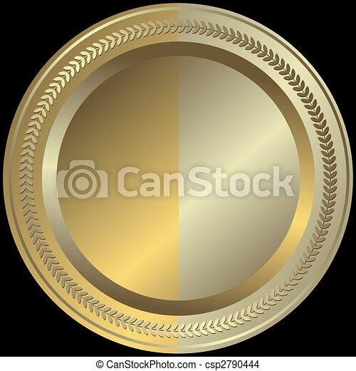 黃金, 銀色, (vector), 盤子 - csp2790444