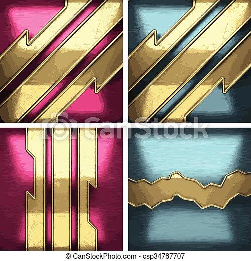 黃金, 集合, 金屬, 元素, 矢量, 背景 - csp34787707