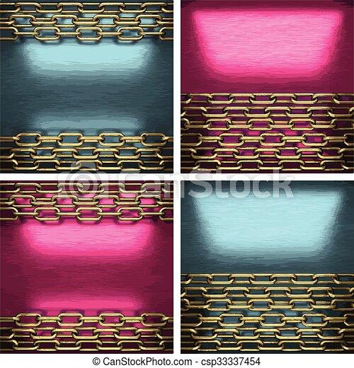 黃金, 集合, 金屬, 元素, 矢量, 背景 - csp33337454