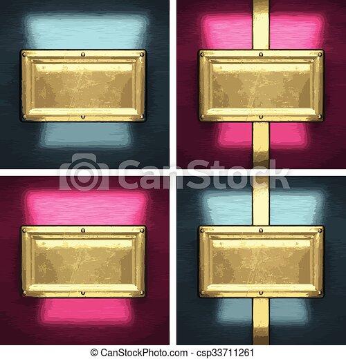 黃金, 集合, 金屬, 元素, 矢量, 背景 - csp33711261