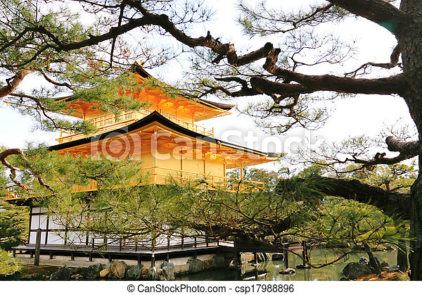 黃金, pavilion), 寺廟, kinkakuji, (the - csp17988896