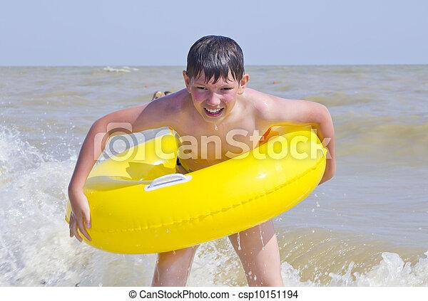 黄色, ゴム, 入浴した, 海, 子供, 円 - csp10151194