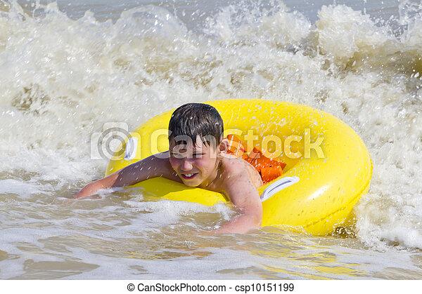 黄色, ゴム, 入浴した, 海, 子供, 円 - csp10151199
