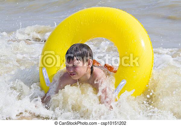 黄色, ゴム, 入浴した, 海, 子供, 円 - csp10151202