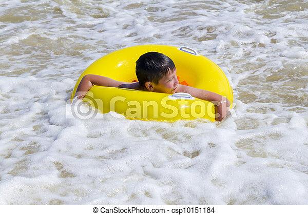 黄色, ゴム, 入浴した, 海, 子供, 円 - csp10151184