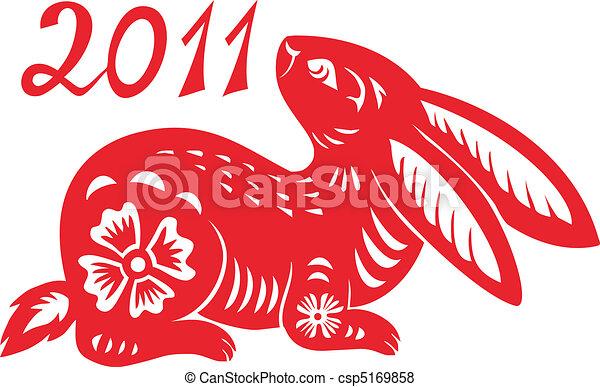 黄道带, year., 兔子, 汉语 - csp5169858