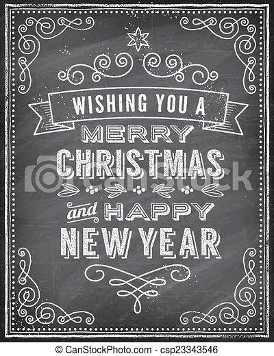 黑板, 矢量, 圣誕節卡片, 問候 - csp23343546