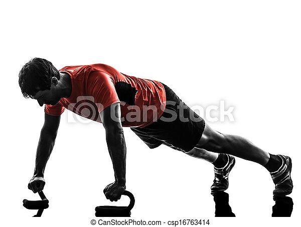 黑色半面畫像, 測驗, 行使, 健身, 推, 向上, 人 - csp16763414