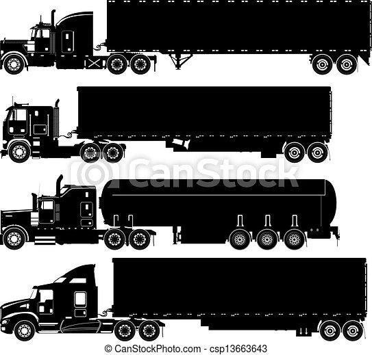 黑色半面畫像, 矢量, 集合, 卡車 - csp13663643