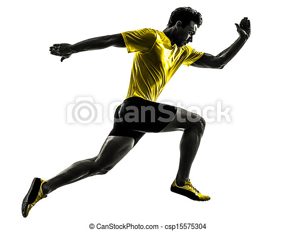 黑色半面畫像, 賽跑的人, 短跑運動員, 年輕, 跑, 人 - csp15575304
