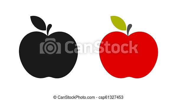 黒, アップル, icons., 赤 - csp61327453