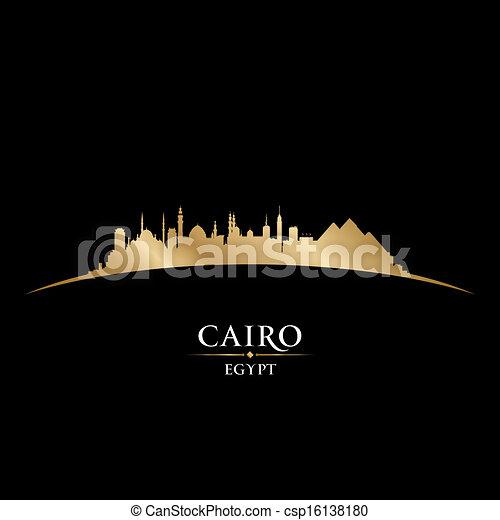 黒, エジプト, 背景, カイロ, スカイライン, 都市, シルエット - csp16138180