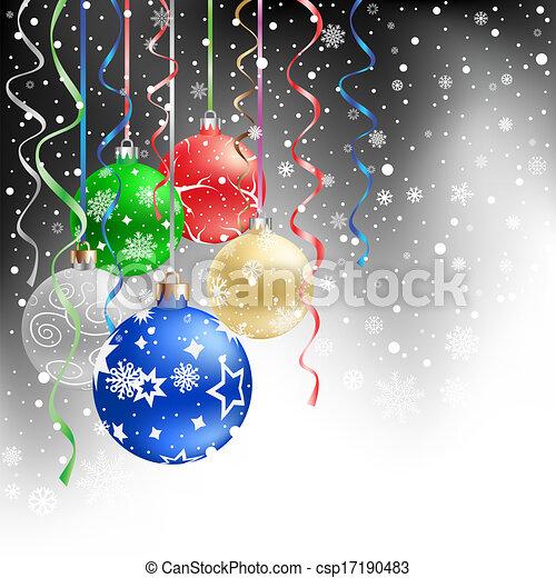 黒, クリスマス, 背景, 安っぽい飾り - csp17190483