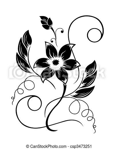 黒, パターン, 花, 白 - csp3473251