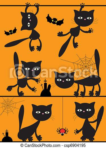黒, ベクトル, cats. - csp6904195