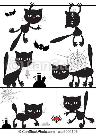 黒, ベクトル, cats. - csp6904196