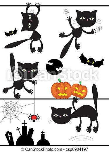 黒, ベクトル, cats. - csp6904197