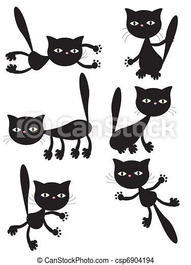 黒, ベクトル, cats. - csp6904194