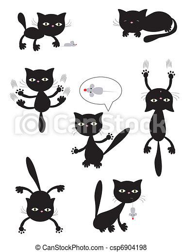 黒, ベクトル, cats. - csp6904198