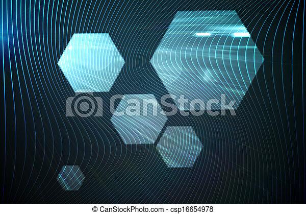 黒, 六角形, 光沢がある, 背景 - csp16654978