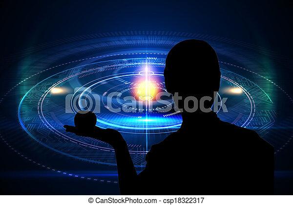 黒, 合成, 背景, 未来派, イメージ, 円 - csp18322317