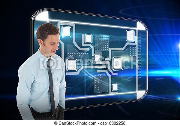 黒, 地位, 手, 背景, 幸せ, ポケット, 未来派, ビジネスマン, に対して, 円 - csp18302258