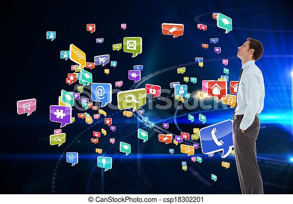 黒, 地位, 背景, 手, 未来派, ビジネスマン, に対して, ポケット, 深刻, 円 - csp18302201