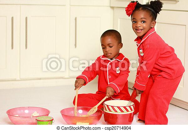 黒, 幸せ, 料理, 子供 - csp20714904