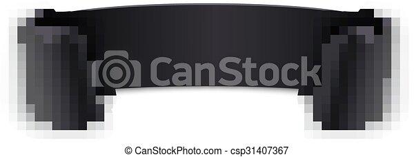 黒, 曲がった, ribbon., 現実的 - csp31407367