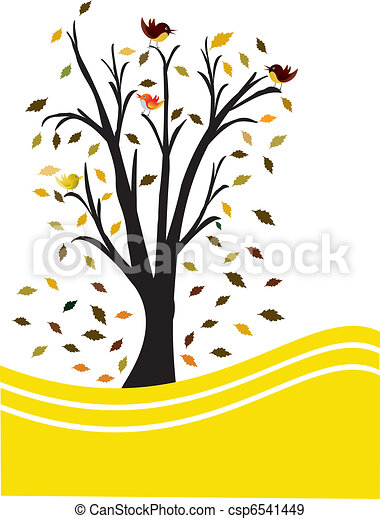 黒, 木, 黄色の背景 - csp6541449