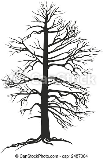 黒, 木, branchy, 定着する - csp12487064