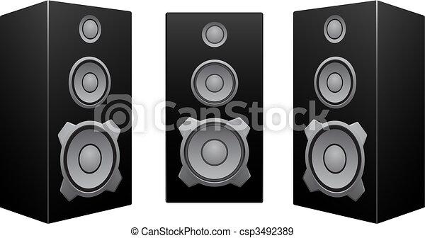 黒, 白, スピーカー, 背景 - csp3492389