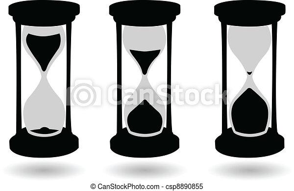 黒, 砂時計, ベクトル, 白 - csp8890855