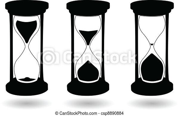 黒, 砂時計, ベクトル, 白 - csp8890884