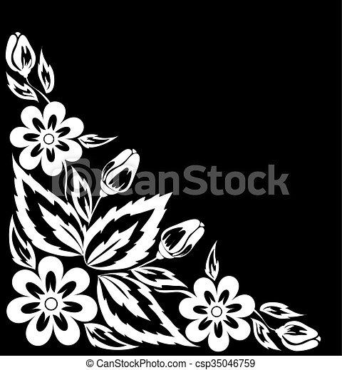 黒, 美しい, corner., 白い花 - csp35046759
