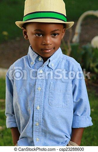 黒, 若い少年, 流行, 帽子, ウエア - csp23288600