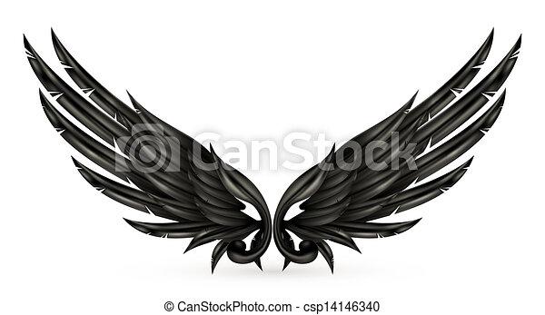 黒, eps10, 翼 - csp14146340