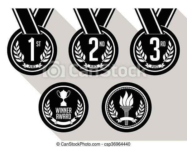 黒, white., メダル - csp36964440