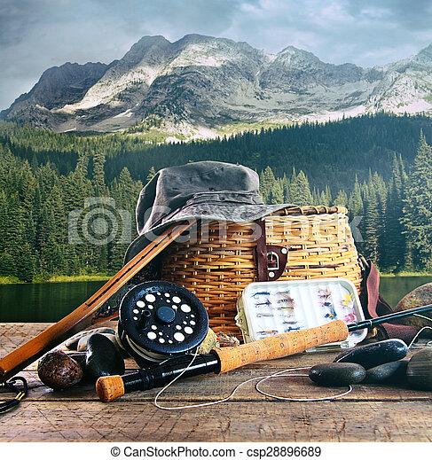 齒輪, 飛, 湖, 木 艙板, 釣魚 - csp28896689