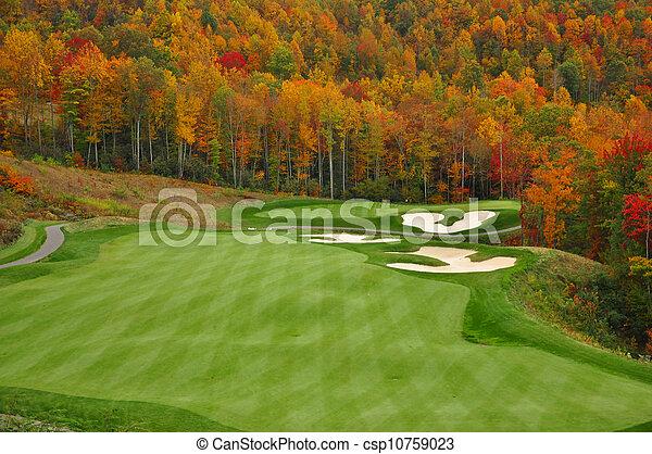 가을, 산, 골프 코스 - csp10759023
