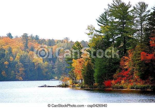 가을, 호수 - csp0426940