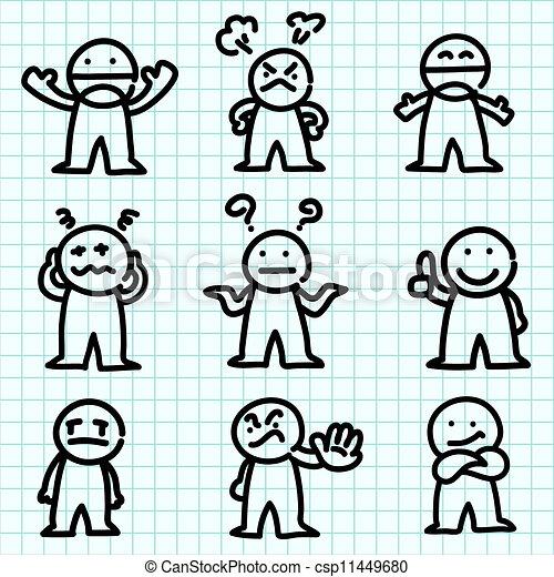 감정, 그래프, paper., 만화 - csp11449680