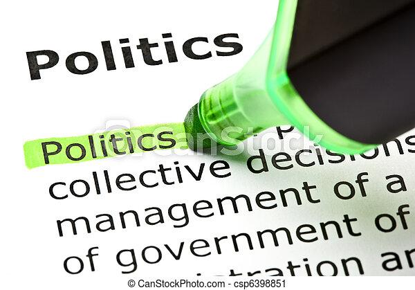 강조된다, 'politics', 녹색 - csp6398851