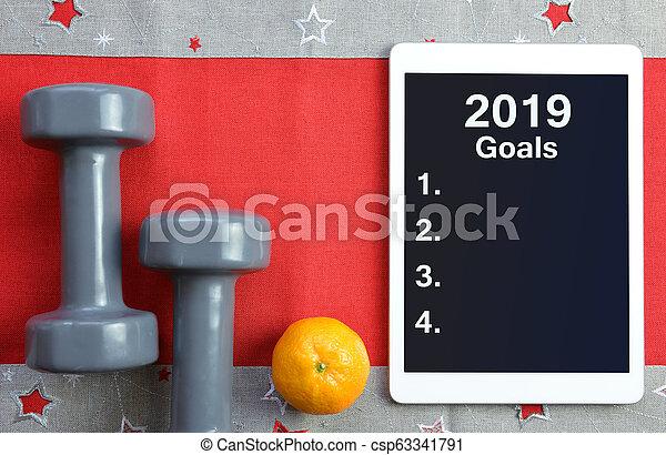 건강한, 새로운, resolutions, 2019., 년 - csp63341791