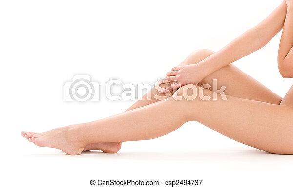 건강한, 아름다운 여성, 다리 - csp2494737